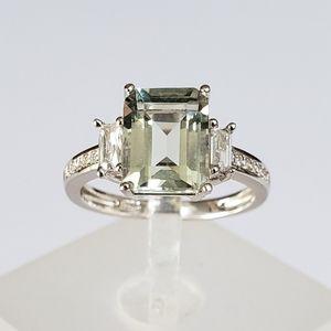 2ct Emerald Cut Green Amethyst Ring